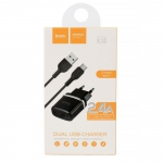 HOCO Hišni polnilec - 2.4A 2x USB plug + type C kabel C12
