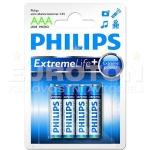 PHILIPS BATERIJA LR03 (AAA) EXTREME LIFE ULTRA ALKALINE + 4/1 55